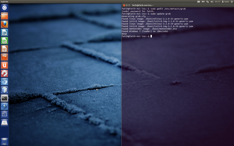 Ubuntu 12.04'de Grub'u Windows Açılışına Ayarlamak